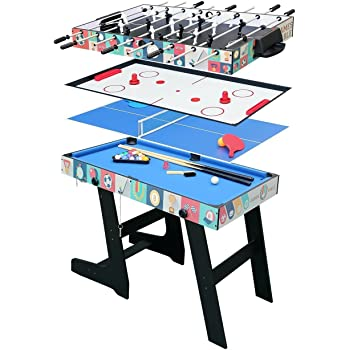 bd8d042b7c461f hj Table Multi Jeux 4 en 1 Pliante-Billard Babyfoot Hockey Tennis de Table -121.5 61 81.5cm