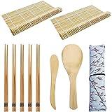 TUT 10pcs Set di Strumenti per la Preparazione del Sushi, 2 tappetini per Sushi, 1 Paletta per Riso, 1 spatola per Riso, 5 Pa