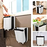 D L D Hanging Trash Can Folded for Kitchen Cabinet Door, Collapsible Trash Bin Small Compact Garbage Can Attached to Cabinet
