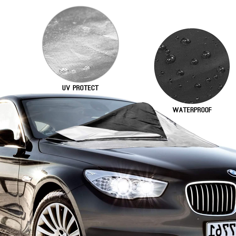 215 125cm Protezione Parabrezza Antighiaccio Antigelo Antipioggia Impermeabile Anti UV Parasole Telo Parabrezza Auto per Maggior Parte dei Veicoli MMTX Copertura Parabrezza Auto