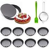 TWBEST Quiche Tart Pan,Juego de 10 piezas Molde Quiche Tart Pan Antiadherentes/8 Molde para Mini Quiche+1 colador +1 cepillo