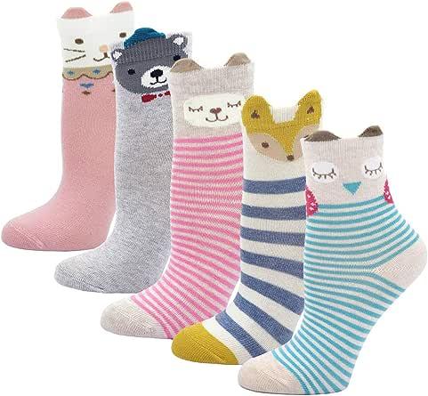 Kinder Socken Bunt Gemustert Kleinkind Mädchen Socken aus Baumwolle Nette Karikatur Tier Socken, 2-11 Jahre, 5 Paare