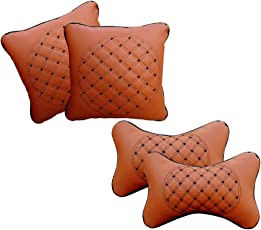 Auto Pearl NckRst_4pc_Tan_AllCars Neck Rest Cushion for All Cars (Set of 4, Black)