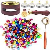 SUPRBIRD Kit de Cachets de Cire 300 Perles de Cire à Cacheter de Couleur Mélangée avec 1 Four à Fondre, Cuillère à Cire, 4 Bo