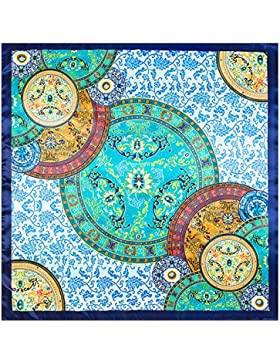 La moda femenina Azul Satin-Silk impreso mantón bufanda cuadrada 35*35cm.