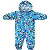 De feuilles Kids Button Rain Suit All-in-one Waterproof Puddle Suits Hooded Raincoat Jumpsuit