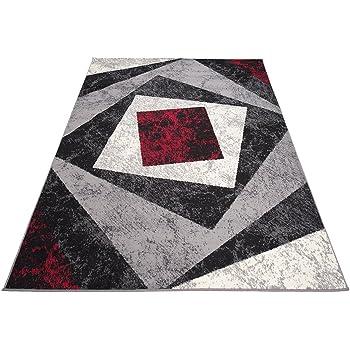 Amazon De Designer Teppich Mit Karo Kariert Meliert In Grau Rot