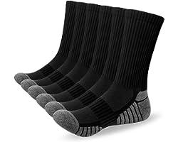 Alaplus Mens Socks 6 Pairs Wicking Breathable Cushion Comfortable Casual Crew Socks Outdoor Multipack Performance Hiking Trek