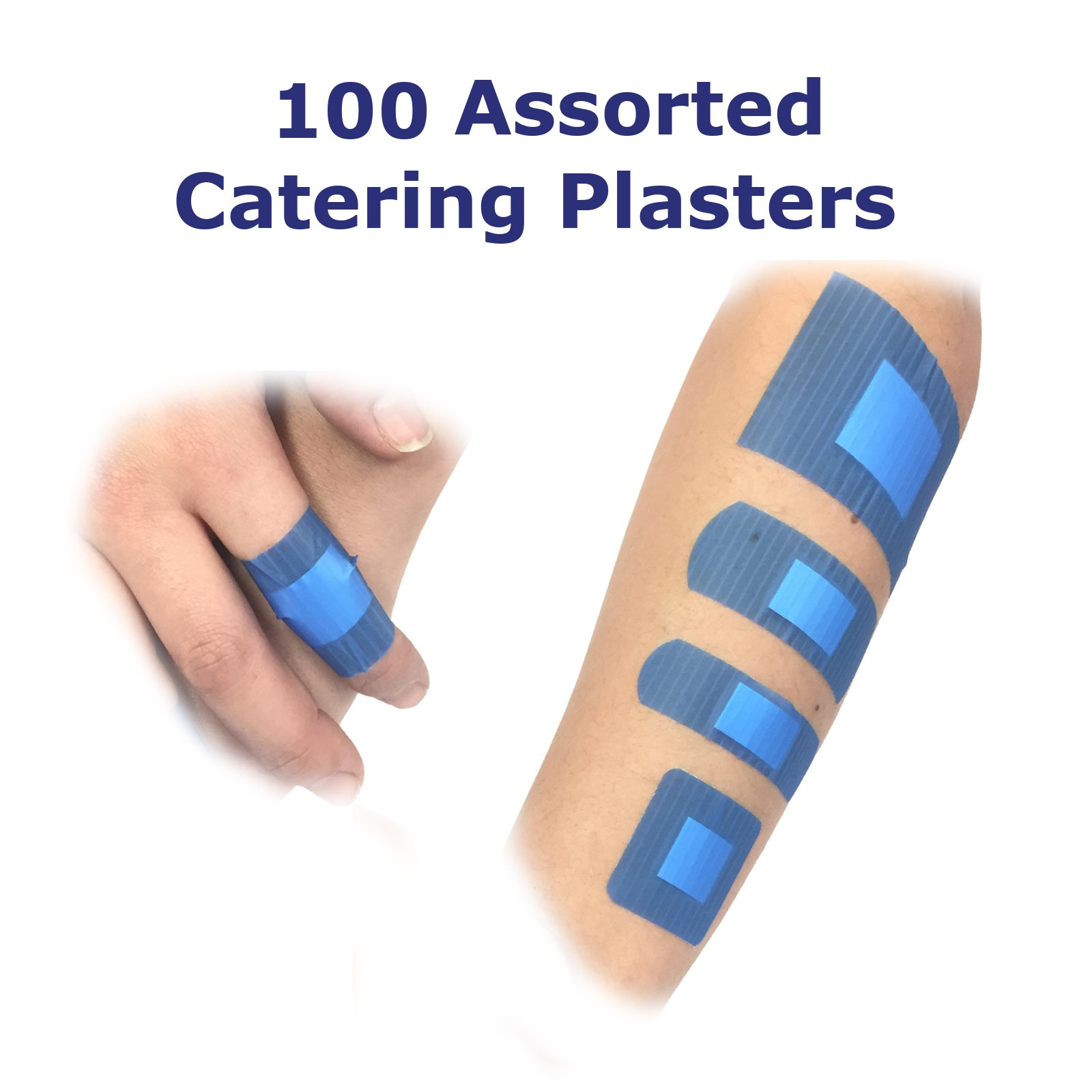 5 PACK OF 100 ASSORTED QUALICARE PREMIUM ULTRA THIN BLUE CATERING FIRST AID W...
