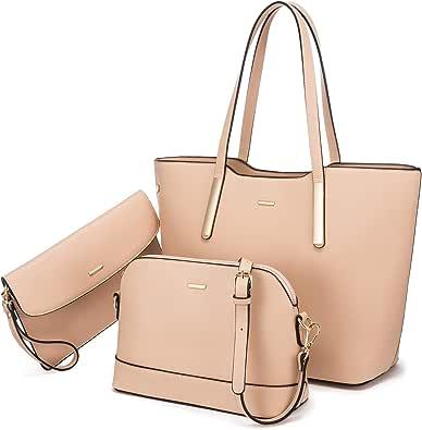 LOVEVOOK Handtasche Damen Set Leder Taschen Shopper Groß Schultertasche Damen-Henkeltaschen Handbags for Women Tote Bag für Schuhe Arbeiten Einkaufen Gehen Reise