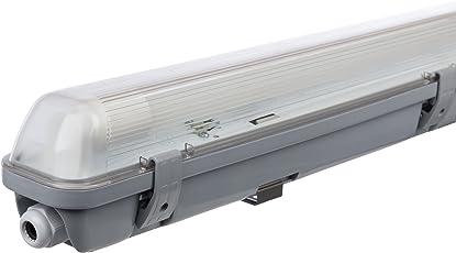 Müller Licht 20800196 A+, Feuchtraumleuchte Aqua-Promo 1 x 18 W LED Röhre, Plastik, grau, 126.5 x 7.2 x 8.6 cm