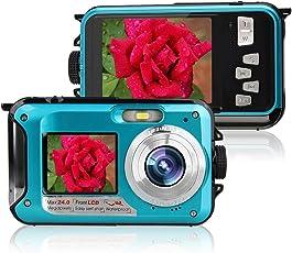 Unterwasserkamera Digital 24MP Videokamera Camcorder Doppelbildschirme Dual Vollfarb LCD Displays FHD 1080p Freigehäuse Selbstauslöser Foto Videorekorder Akku