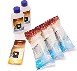 Melitta 6er Pflegeset für Kaffeevollautomaten und Espressomaschinen | 3x ProAqua Wasserfilter | 2x Flüssigentkalker Anti Calc | 1x Reinigungstabs Perfect Clean