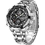 Relojes para Hombre de Lujo de la Manera Reloj cronógrafo Pesado del Deporte del Acero Inoxidable Alarma de la Fecha Impermea