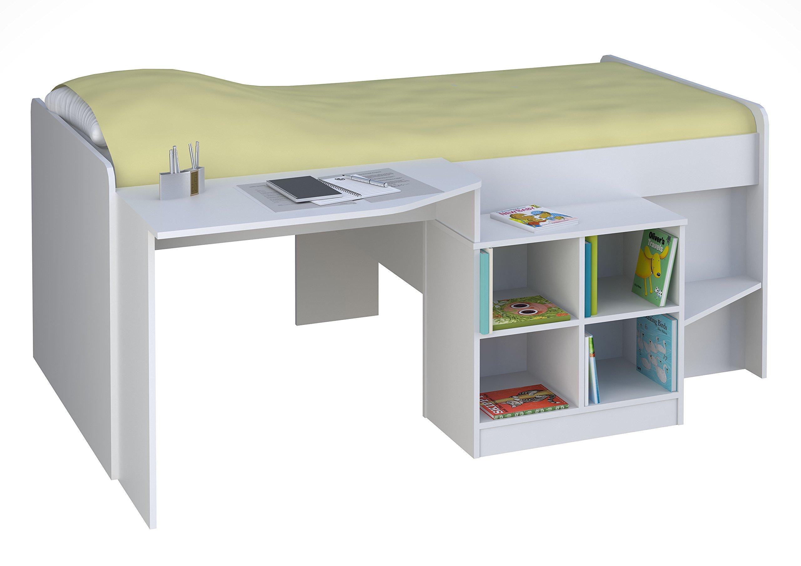 Polini kids letto per bambini letto a soppalco con scrivania e porta bianco 1574 9 - Letto soppalco con scrivania ...