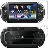 Protezioni per Schermo per Sony PlayStation Vita 2000, AFUNTA 2 Pack (4 pezzi) Vetro Temprato per schermo frontale e pellicol