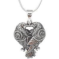 TreasureBay Men's Women's Sterling Silver Viking Odin's Raven Birds Pendant, Norse Vikings Pendant Necklace Valknut…