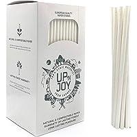 Upnjoy - 250 PCS Paille en papier, 250 Pailles blanches à boire recyclables   Adapté pour boissons avec et sans alcool…