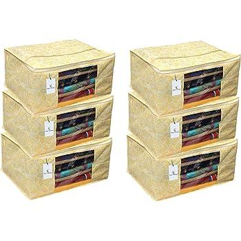 Kuber Industries 6 Pieces Non Woven Wardrobe Organizer Saree Cover Set, Gold