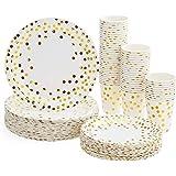 Platos Desechables y Vasos Cumpleaños, Juego de 180 Piezas Vasos de Carton y Plates con Patrón Dorado - 60 Vasos de Papel 270