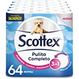 Scottex Pulito Completo Carta Igienica Salvaspazio, Confezione da 64 Rotoli