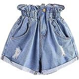 FRAUIT Pantaloni Donna Jeans Larghi Strappati Pantaloncini Vita Alta Denim Shorts Ragazza Push Up Bermuda Mare Pantalone Ceri