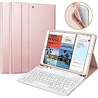 """Fintie Tastatur Hülle für iPad Air 10.5"""" 2019 (3. Generation) / iPad Pro 10.5"""" 2017, Soft TPU Rückseite Schutzhülle mit Pencil Halter, magnetisch Abnehmbarer QWERTZ Tastatur, Roségold"""