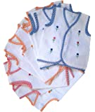 KIDSKA® Newborn Baby Cotton Jhabla Newborn Baby Dress for Baby (Multicolour; 0-6 Months) - Pack of 5