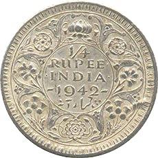 vinayak 1/4 Rupee 1942 British India Coin (Silver)
