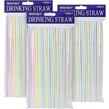 100Pcs Disposable Flexible Straws Plastic Drinking