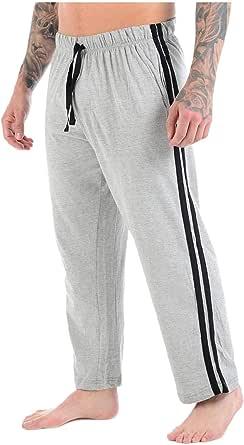 Mens Lounge Pants Plain Nightwear Elasticated Waist Striped Jog Jogging Tracksuit Bottoms Poly Cotton Pyjama Pjs Joggers Sleepwear Casual Gym Lightweight Loungewear Sizes S-2XL