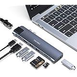 VKUSRA Hub USB 8 in 1 Adattatore hub Tipo C con Thunderbolt 3, 4K HDMI, 3 USB 3.0, Ethernet, Lettore Schede SD/TF, Porta Dati