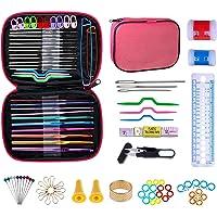 NIAGUOJI Kit crochet 100pcs Accessoires Nécessaires à Tricoter Aiguilles à Tricoter au Crochet Ergonomiques Pour…