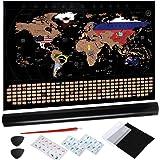 Anpro Mapa świata do zdrapywania, mapa świata do zdrapywania, w zestawie opakowanie na prezent 80 x 58 cm