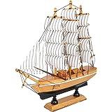 V Care Modern Art Handicrafts Showpieces for Home Decor Beautiful Handicraft Wooden Ship/Office Table Décor(20 cm) Multi Colo