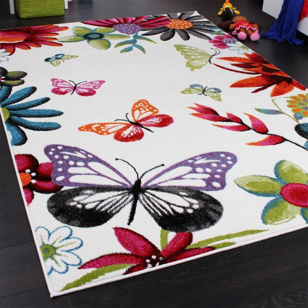 Kinderteppich schmetterling  Teppich Kinderzimmer Schmetterling Bunt Kinderteppich Butterfly ...