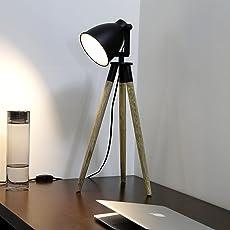 Craftter Wooden Tripod Metal focus light Beautiful Decorative Table Lamp