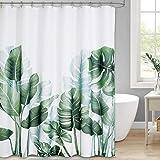 NICETOWN Rideau de Douche avec Crochets, Motif Feuilles de Bananier Palmie Tropical Plantes Vertes, Tissu Imperméable et Moul