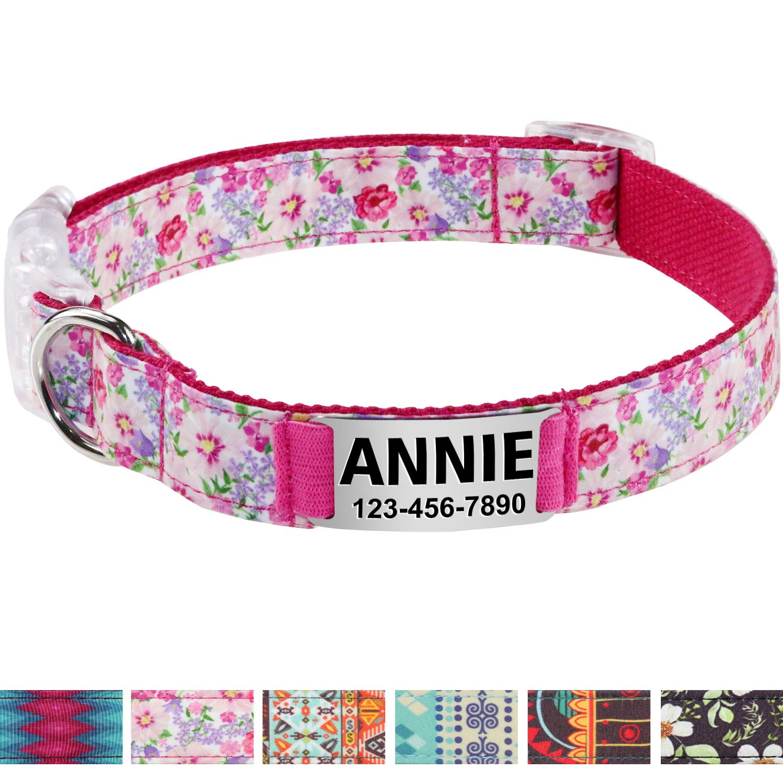Vcalabashor Collar de Perro Personalizado, Placa de Acero Inoxidable grabada con Nombre y Número de Teléfono del Perro,Pink Pequeño