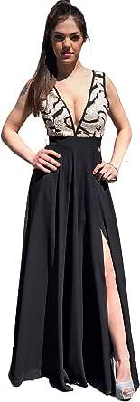 Tuwe Abito Donna da Cerimonia Vestito Elegante Lungo Nero - Abito Nero con Paillettes - Cerimonia Donna (44, Nero e Oro)