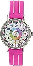 Kinderuhr Armbanduhr für Mädchen DIE UHRZEIT Lernen (12- & 24- Uhr), wasserfest, hohe japanischer Quarzmechanismus, Lange andauernd Batterie, in Geschenk-Box, erster Time Teacher, Rosa
