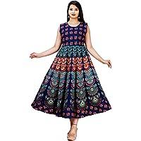 G for Girl Women's Multicolor Jaipuri Rajasthani Printed Cotton Maxi Frock Long Kurti