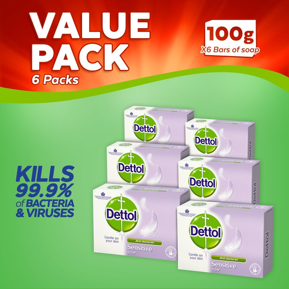 Dettol Antibacterial Bar Soap Sensitive, 100 g, Pack of 6