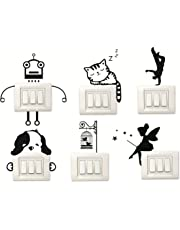 Set of 6 Switch Board Laptop Stickers for Decoration Beautiful Modern Art