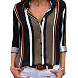 BLENCOT Camicia Donna Elegante Camicia a Righe Donna Camicetta Donna Casual Camicia Scollo a V Donna Blusa Donna Casual per T