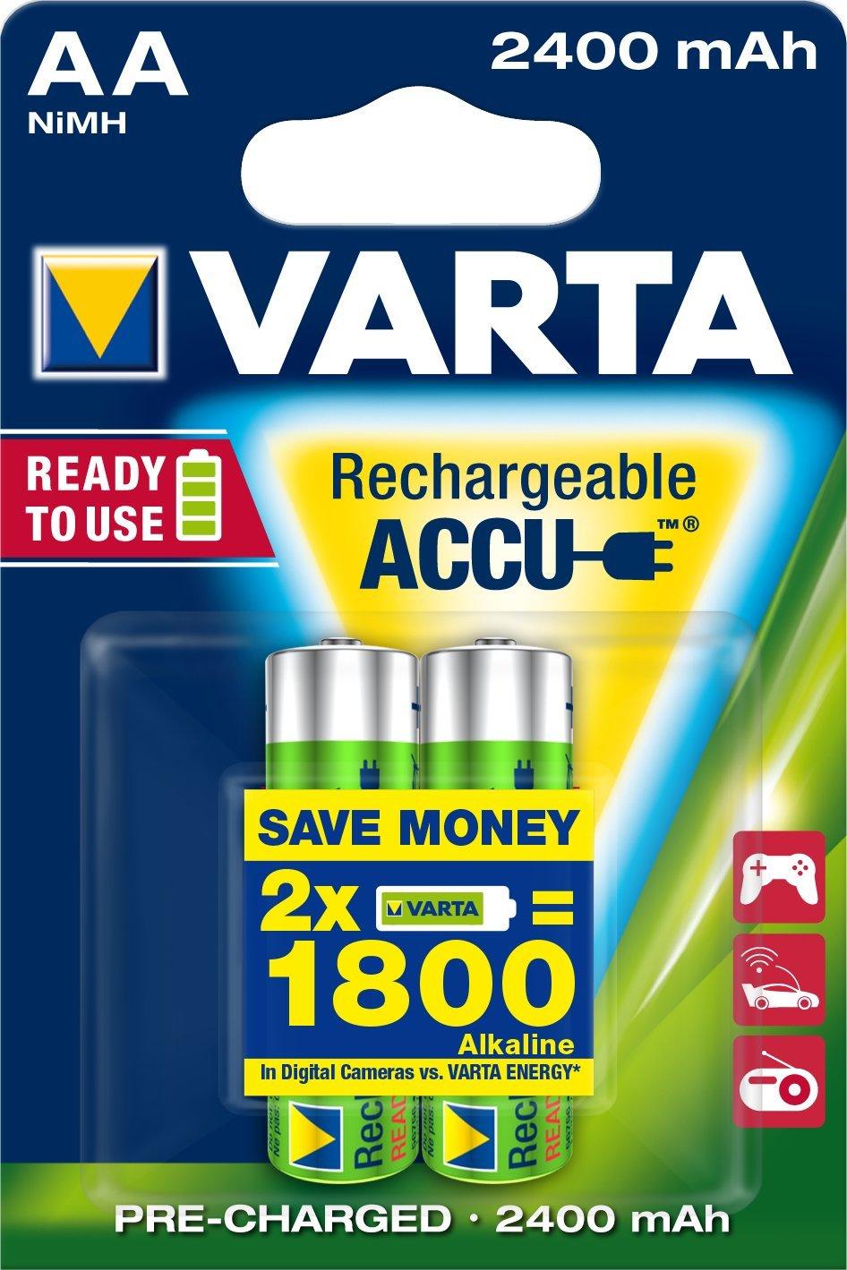 Varta ACCU Batteria Ricaricabile AA Stilo, 2400 mAh, Confezione da 2 Pezzi