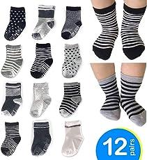 12 Paar Baby Socken Antirutsch-Socken mit Gummi-Noppen aus Baumwolle 10 - 36 Monate