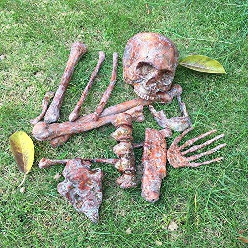 Halloween ossements sanglants dispersés squelette de simulation plastique ABS haute qualité peinture couleur environnementale taille 1: 1