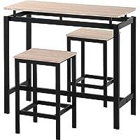 Ensemble Table de Bar bistrot, Table de Bar avec Table et 2 tabourets, comptoir de Cuisine, Couleur chêne