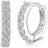 Andi Rose - Orecchini a cerchio da donna in argento Sterling 925 con strass, White1, 0.63 * 0.63 inch